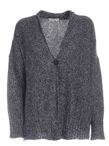 Le Tricot Perugia - Micro sequins cardigan in blue and grey
