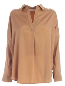 Le Tricot Perugia - Loose fit blouse in camel color