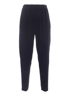 Le Tricot Perugia - Loose fit blue pants featuring pleats