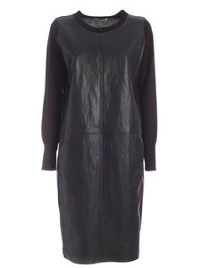 Le Tricot Perugia - Faux leather wrinkled effect dress in brown