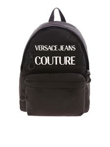 Versace Jeans Couture - White logo backpack in black