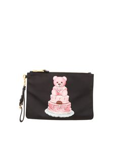 Moschino - Cake Teddy Bear logo print pouch in black