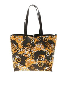 Versace Jeans Couture - Logo Baroque print shopper in black
