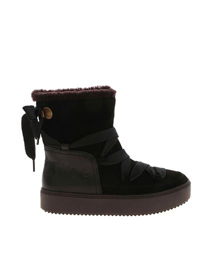 mary ankle boots with logo in black
