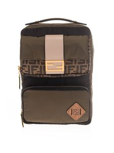 Fendi - Logo detail backpack in green and brown