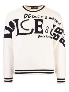 Dolce & Gabbana - Logo intarsia pullover in black and white
