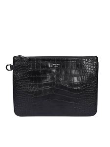 Jimmy Choo - Derek croco print clutch in black