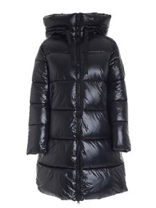 Save the duck - Logo patch maxi down jacket in black