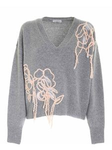Ballantyne - Powder pink embroidery pullover in melange grey