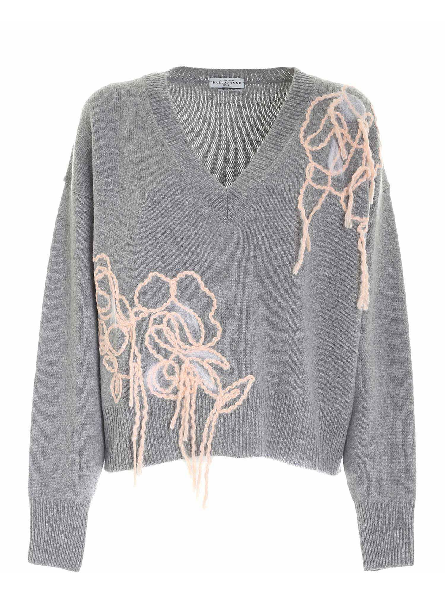 Ballantyne POWDER PINK EMBROIDERY PULLOVER IN MELANGE GREY