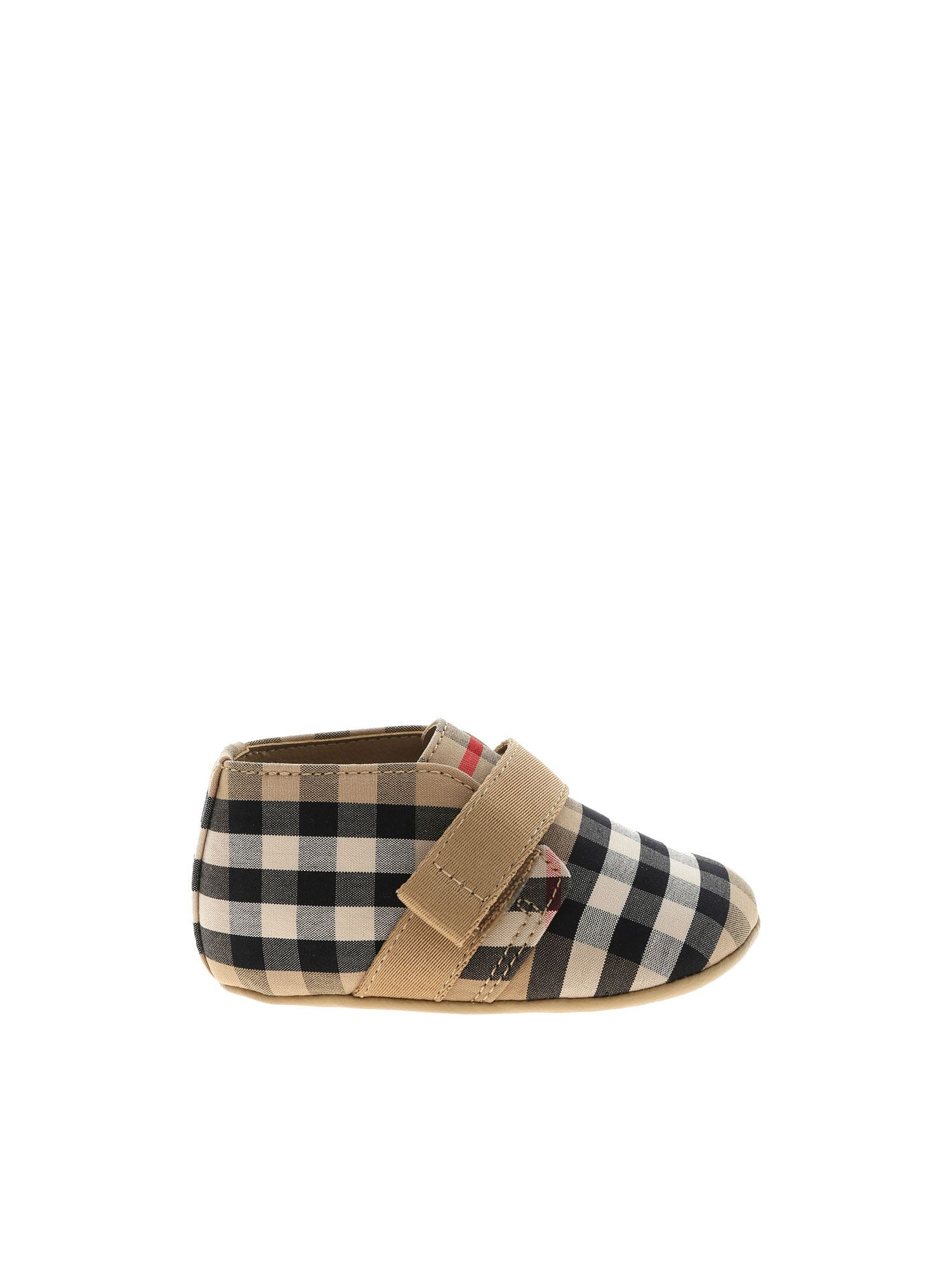 Burberry CHARLTON CHECK SNEAKERS IN BEIGE