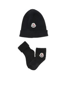Moncler Jr - Tricot ribbed beanie and socks in blue