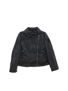 Monnalisa - Embroidered logo jacket in black
