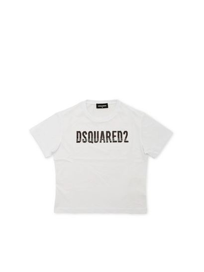 Dsquared2 - T-shirt bianca con logo in paillettes