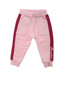 Monnalisa - Logo embroidery pants in pink