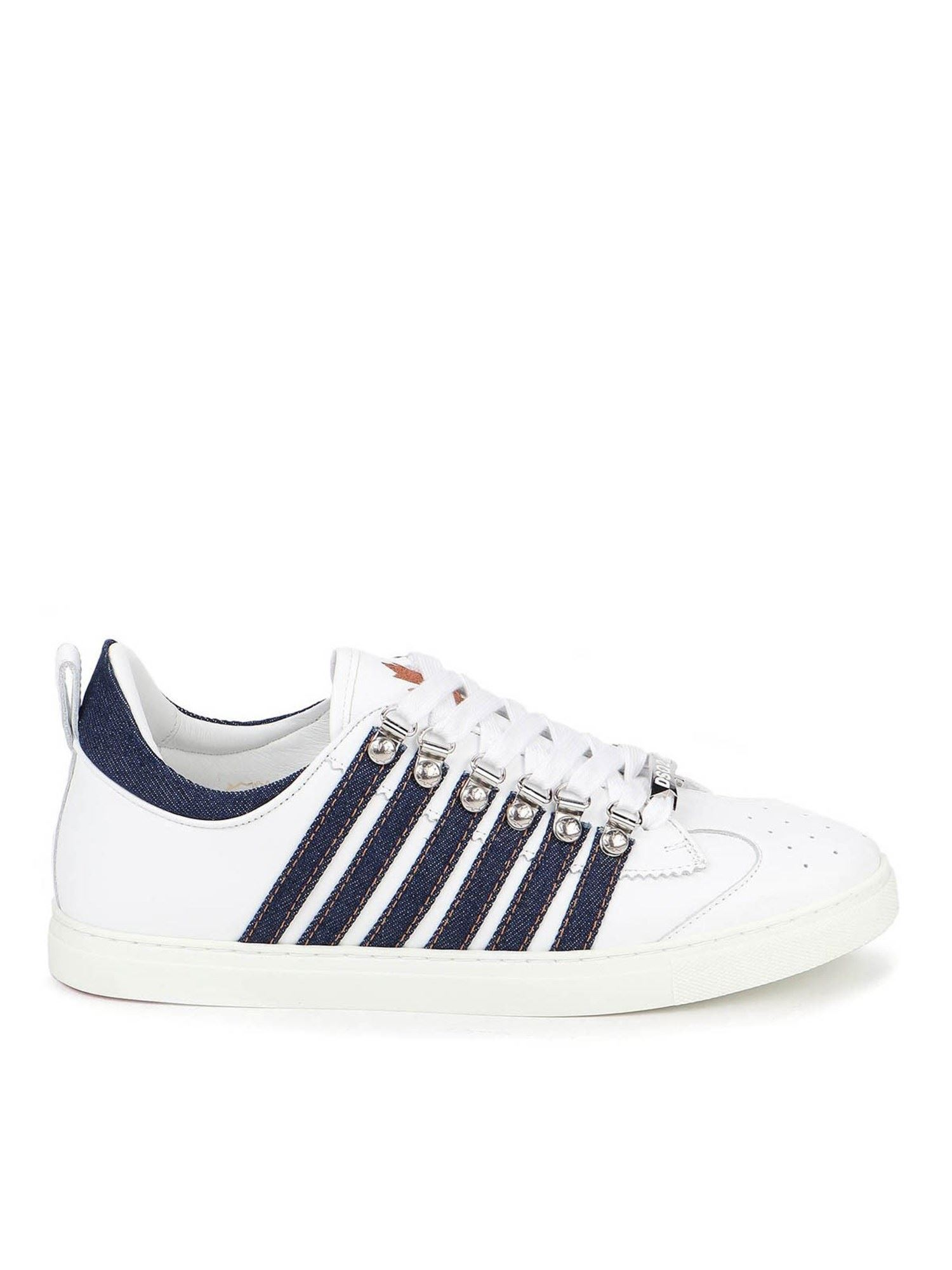 Dsquared2 DENIM DETAILED SNEAKERS IN WHITE