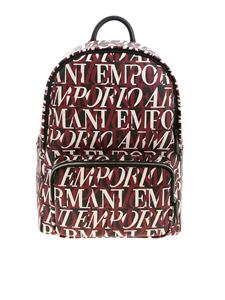 Emporio Armani - Contrasting logo pattern backpack in black