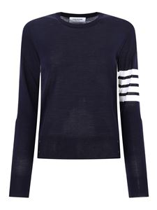 Thom Browne - Merino sweater with four stripes in blue