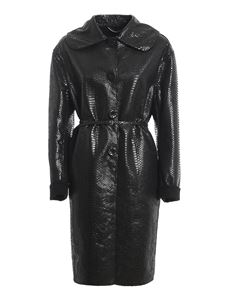 Ermanno Scervino - Reptile print wool coat in black