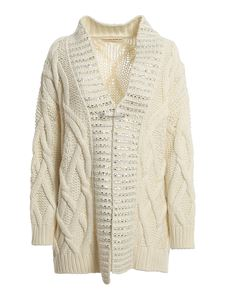Ermanno Scervino - Crystal trim oversized rib-knit cardigan in cream colour