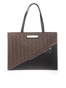 Fendi - FF Shopping bag in brown and black