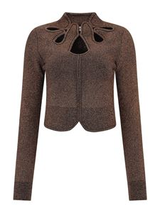 Self-Portrait - Lurex cut-out detailed sweater in bronze colour
