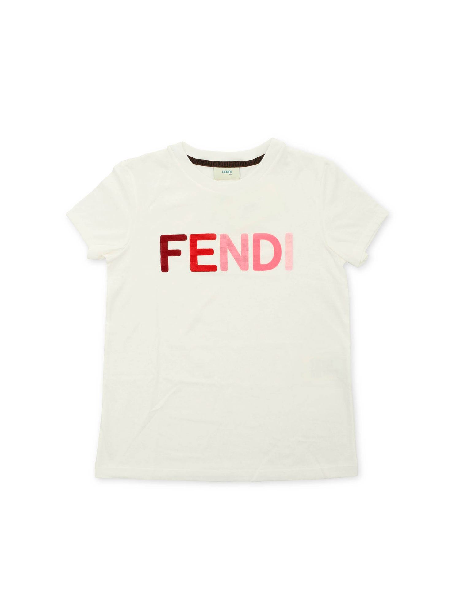 Fendi Jr DEGRADÉ LOGO EMBROIDERY T-SHIRT IN WHITE