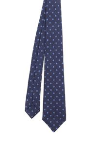 Kiton - Shimmering effect polka dot patterned tie in blue