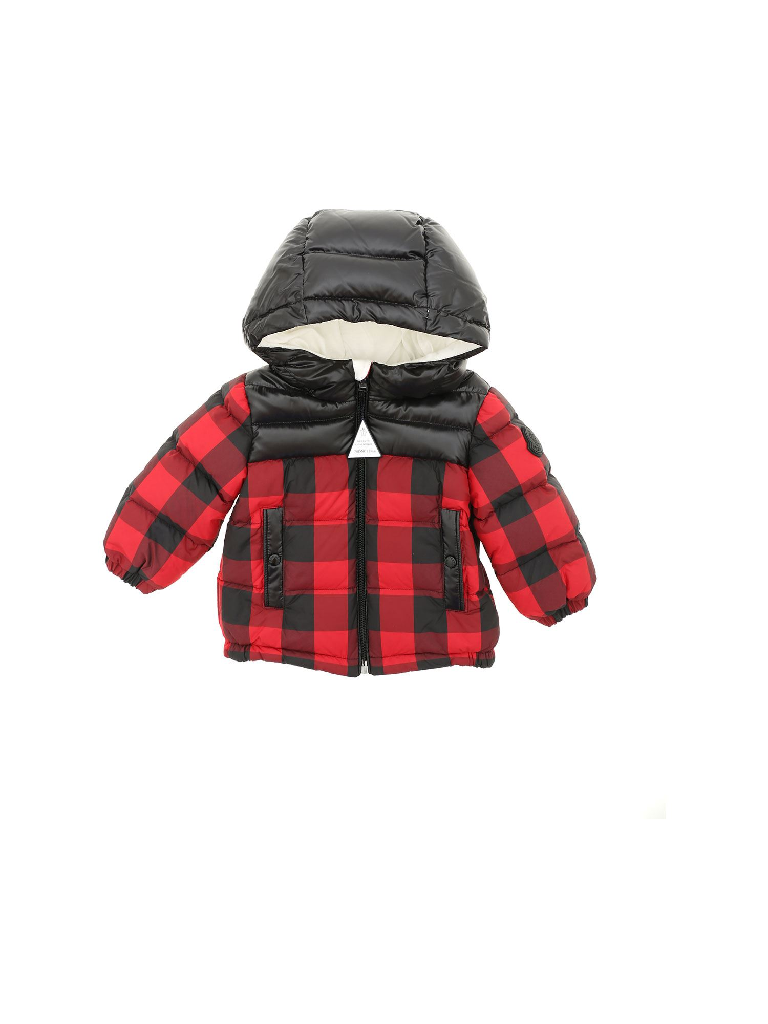 Moncler Jr Downs CALTROP DOWN JACKET IN BLACK AND RED