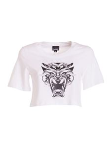 Just Cavalli - Printed cropped T-shirt in white