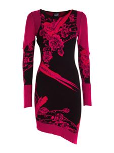 Just Cavalli - Floral patterned asymmetric dress in fuchsia and black