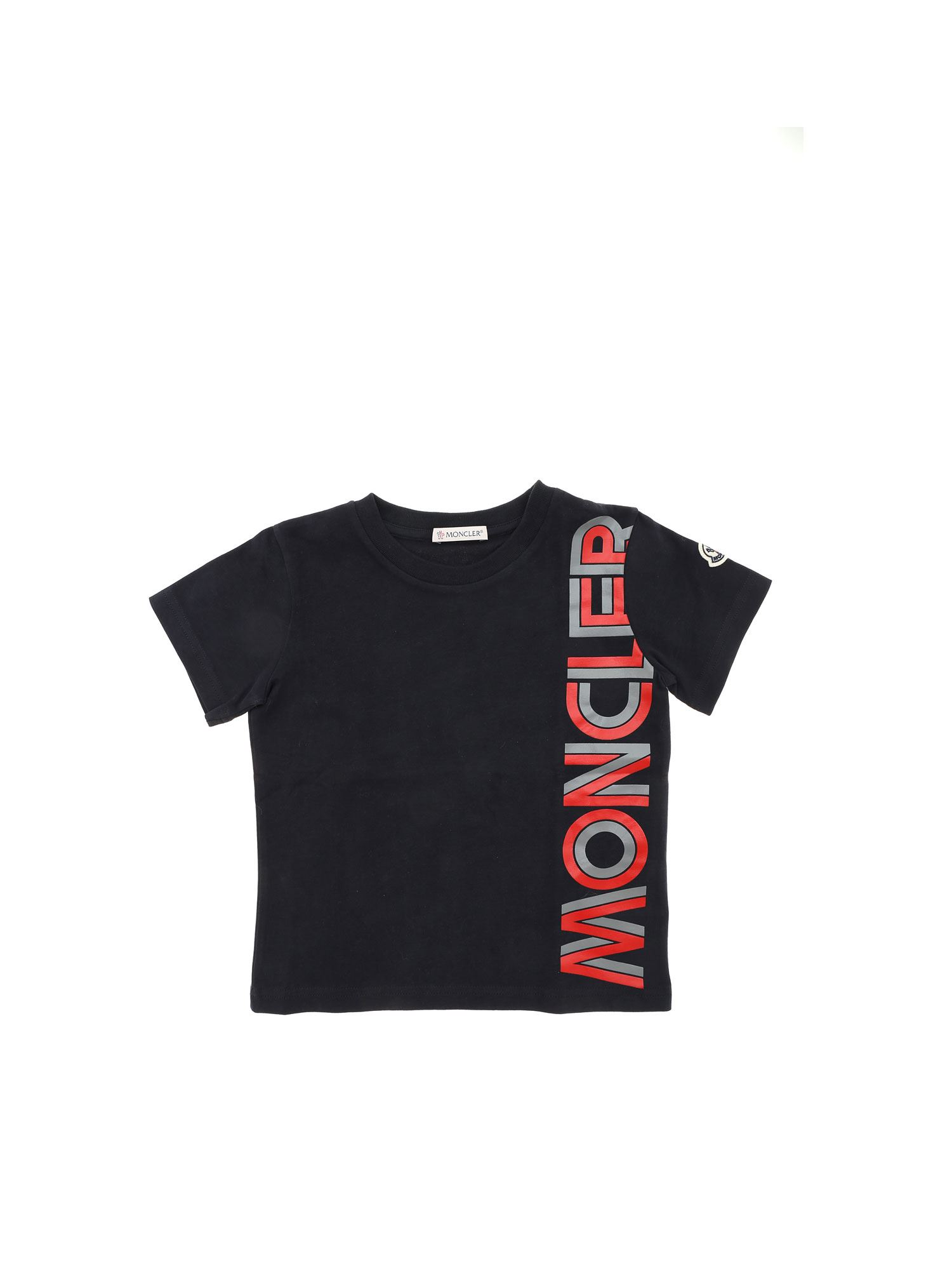 Moncler Jr Cottons RED AND GREY LOGO T-SHIRT IN BLUE