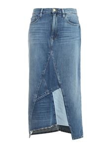 Frame - Patchwork denim midi skirt in blue