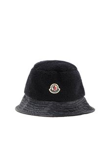 Moncler Jr - Logo teddy effect hat in blue