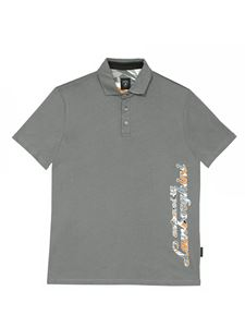 Automobili Lamborghini - Polo shirt with logo in camouflage motif in grey
