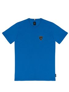 Automobili Lamborghini - T-shirt with embroidered logo in blue