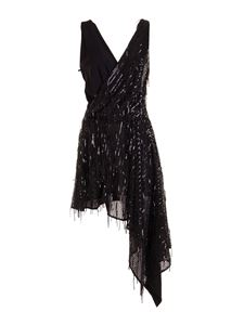 Just Cavalli - Sequined asymmetric dress in black