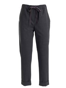 Semicouture - Gross grain bow pants in anthracite color