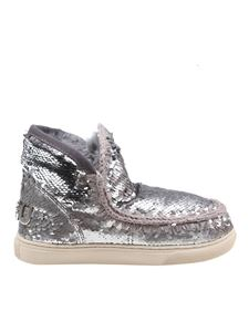 Mou - Eskimo sequin embellished sneakers in silver color