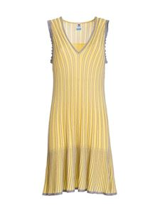 M Missoni - Lurex striped sleeveless dress in yellow