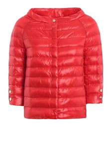 Herno - Bright red ultralight puffer crop jacket in red