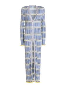 M Missoni - Lurex long cardigan in light blue and grey