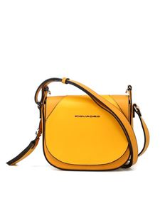 PIQUADRO - Two-tone smooth leather Muse saddle bag in yellow
