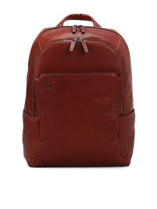 PIQUADRO - Light brown leather backpack
