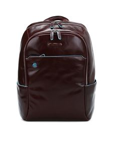 PIQUADRO - Mahogany leather backpack in brown