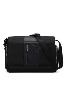 PIQUADRO - Black leather and fabric messenger in black