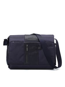 PIQUADRO - Leather and techno fabric messenger in blue