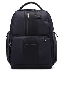 PIQUADRO - Water resistant blue backpack
