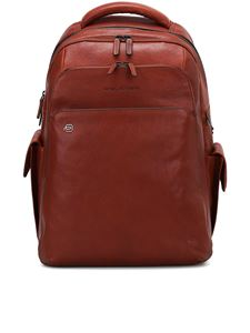 PIQUADRO - USB and micro-USB plate backpack in brown