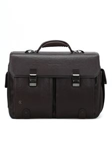 PIQUADRO - Dark brown washed-out briefcase in brown